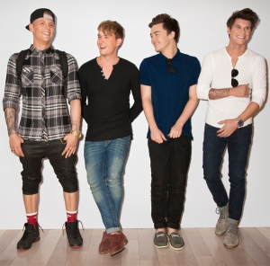 British band Rixton, (from left to right) Lewi, Danny, Jake and Charley